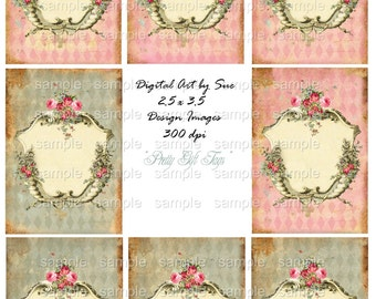 Pretty Gift Tags -  Printable Digital Collage Sheet - Single Image - INSTANT DOWNLOAD