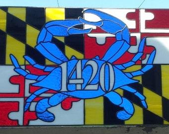 "Stained glass Transom - ""Maryland Symbols II"" (TW-38)"