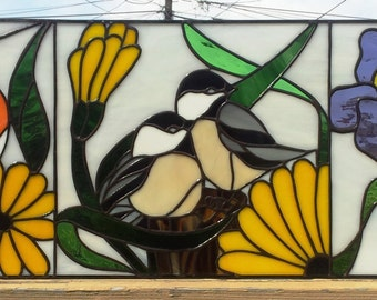 """Stained glass Transom - """"Spring Magic"""" (TW-42)"""