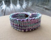 Pastel Psychedelic Hemp Cuff - Knotted Macrame Bracelet - Hippie Natural Rainbow