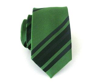 Mens Ties Necktie Dark Green and Black Stripes Skinny Mens Tie