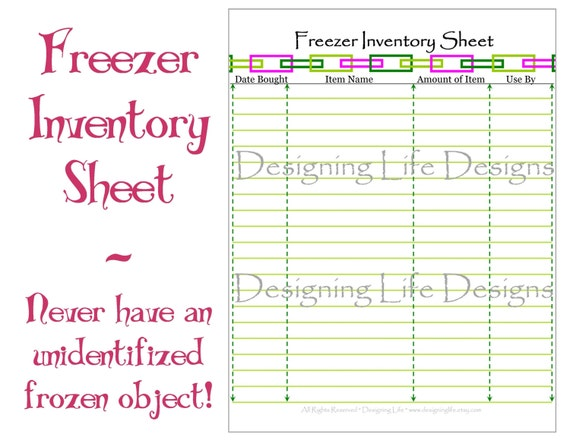 Freezer Pantry And Fridge Inventory Sheets By Designinglife