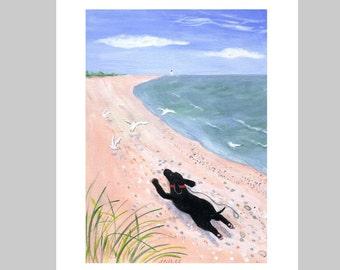 "Inkjet PRINT ""Dog on the Beach"""