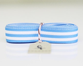 "Clearance!!!  25 yard roll of 5/8"" Baby Blue Candy Stripe Ribbon"