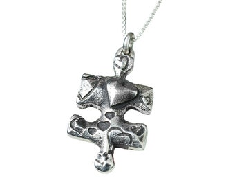 Puzzle Piece Heart Necklace Jewelry Hearts Silver Personalized