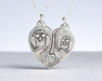 Puzzle Piece Heart Necklace Owl Jewelry Sterling Silver