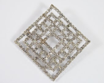 Rhinestone Open Work Squares Brooch 40s 50s Vintage Jewelry