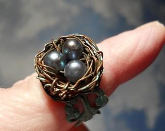 Enchanted Iris Pearl Woodland Birdnest on Verdigris Filigree adjustable ring