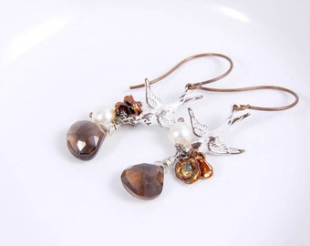 Bird Earrings,  Pearl Antique Bird Charm Dangles Smoke Quartz Pearl Brass Jewelry Accessories Gifts for Her