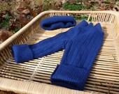 Little Baby Blue newborn wool longies with matching hat