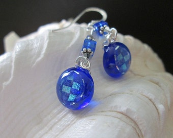 Sapphire Blue and Silver Checkerboard Dangling Earrings - Fused Glass and Crystals