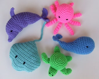 Amigurumi Crochet Pattern, Beach Toys Digital Download