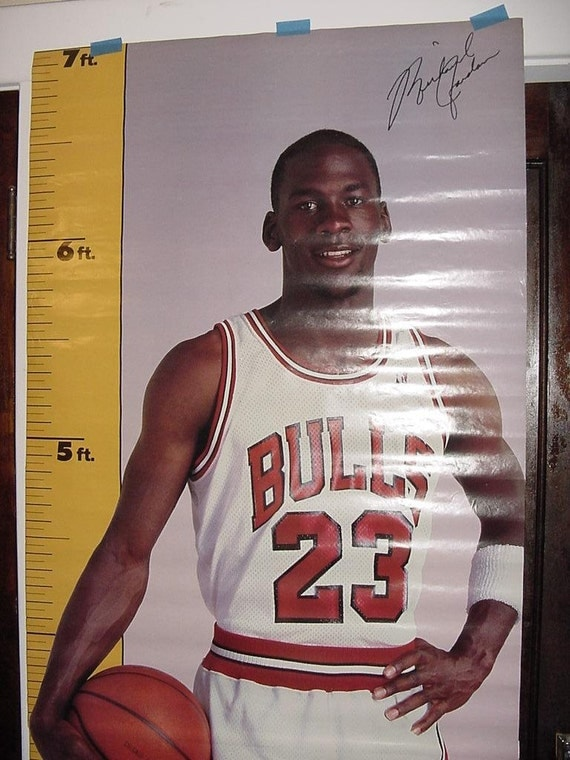Michael Jordan Vintage 80s 1987 Measure Up Poster Life Sized