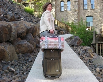 Sample Sale Carry On Duffle with Trolley Sleeve in Brown and Coral ready to ship