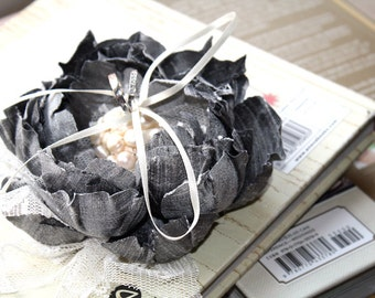 Ring bearer Pillow alternative  - Silver greay -  Handmade  couture flowers - Whimsical Delight collection