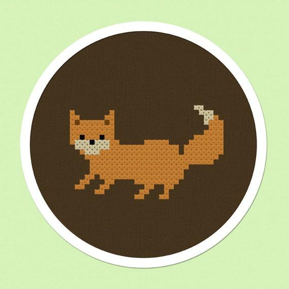Cute Fox Cross Stitch Pattern PDF Instant Download