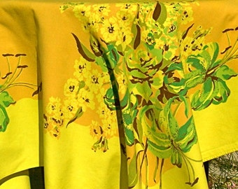 Vintage Mid Century Tablecloth Large Floral Lime Green