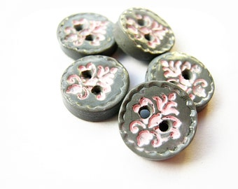 Pink and Grey Damask Buttons  (set of 5)
