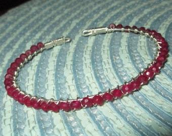 Ruby Red Bracelet. Quartz Gemstone Bracelet.  Sterling Wire Wrap Bracelet.  Adjustable Bracelet.