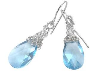 Blue Crystal Earrings, Silver Baby Blue Swarovski Crystal Earrings Pastel something blue  , March birthstone, Birthstone Earrings