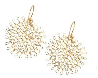 Flower Earrings - Floral Jewelry - Gold Earrings  - Wire Crochet Earrings - Dangle Earrings - Handmade Jewelry - Gift For Her
