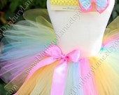 Toddler Girls Rainbow tutu only, birthday dress up skirt and photo prop, choose from sizes 2t,3t, or 4t -PASTEL RAINBOW