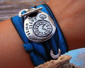 STERLING Silver Jewelry, Silk Wrap Bracelet Bracelet, TIME FLIES Quote Jewelry, Cool Silver Jewelry, Time Flies Silk Wrap Bracelet