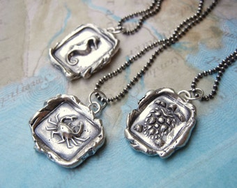 Wax Seal Jewelry, Wax Seal Stamped Jewelry, Wax Seal Stamp Necklaces, Nautical Jewelry, Silver Wax Seal Necklace Set Wax Seal Necklace Gifts