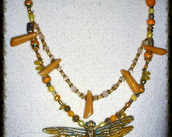 Yellow and Blue Enameled Dragonfly Pendant on Beaded Necklace