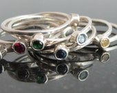 Custom Listing: for Erica Birthstone Sterling Silver Stacking Trinket Ring
