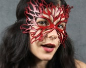 Flame mask in red leather