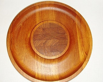 vintage dansk midcentury denmark teak wood cheese cutting board party tray