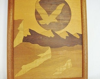 vintage hudson river inlay wood marquetry eagle picture
