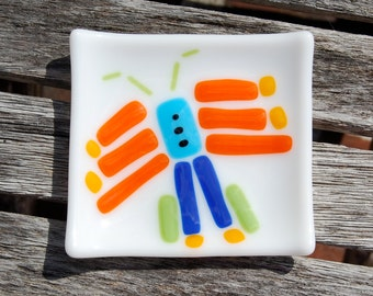 Colorful Butterfly Little Fused Glass Dish - Trinket Dish - Spoon Rest