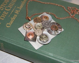 Vintage Button and Found Object Necklace