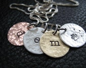 "1/2"" 22 g  Rustic - Mixed Metals - Hand Stamped Charms  Necklace - Initials jewelry"