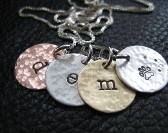 Hand Stamped Charm Necklace, Mothers Day,  Rustic, Mixed Metals Necklace, Initials Jewelry