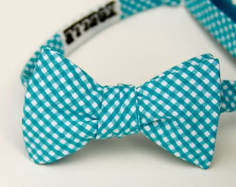 turquoise tiny gingham freestyle bow tie for men
