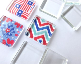 20  Flat Smooth 23mm Glass Tiles Squares 7/8 inch pendants Making