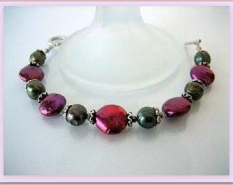 Bracelet - Olive Potato Pearls- Raspberry coin Pearls- Bali silver