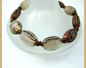 Bracelet, Smoky Quartz , Copper ovals, Copper rings