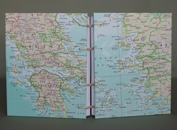 Greece / Turkey Travel Map Journal with Lined Pages by PrairiePeasant