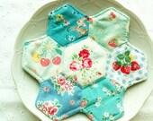 zakka hexies patchwork coasters