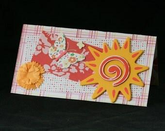 Checkbook Cover Vinyl Unique Handmade Sunshine Design