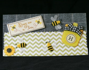 Checkbook Cover Handmade Clear Vinyl Queen Bee  Honey Bee  Bee Hive Design