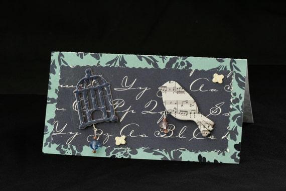 Checkbook Cover Vinyl Unique Handmade Bird Cage