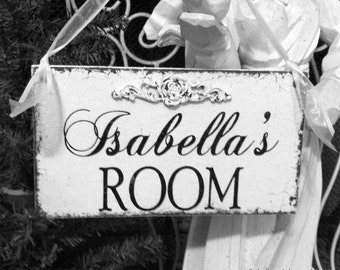 Child's ROOM SIGN, Custom Name Sign, Door Sign, Room Sign, Baby Shower Gift, Shabby Rustic Sign, 9 x 5