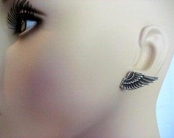 SALE Angel Wing Earrings, Wing Earrings, Silver Wing Earrings, Silver Wings, Celestial, Heavenly, Rocker Earrings, Rocker, Wings, Pierced