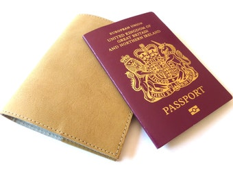 Leather Passport Holder, Natural, Personalised, Engraved, Case