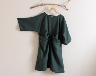 handmade to measure 2 folds kimono sleeve eco linen dress
